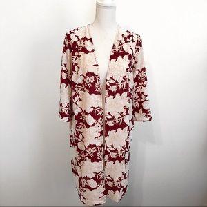 NWOT Burgundy & cream floral crepe kimono